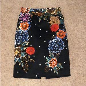 Anthropologie floral polka dot pencil skirt size 4
